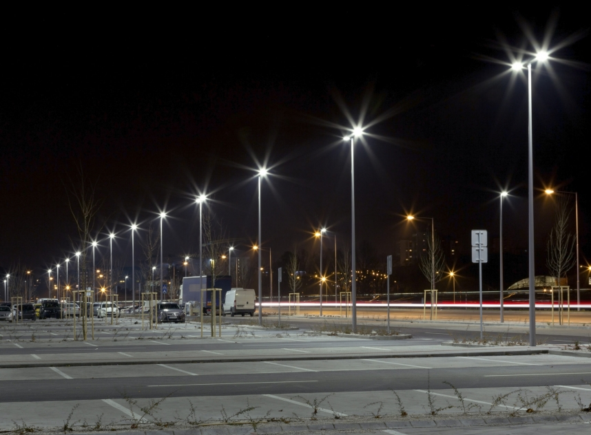 Modern Parking Area At Night
